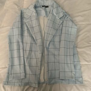 Light Blue Plaid Print Boohoo Blazer